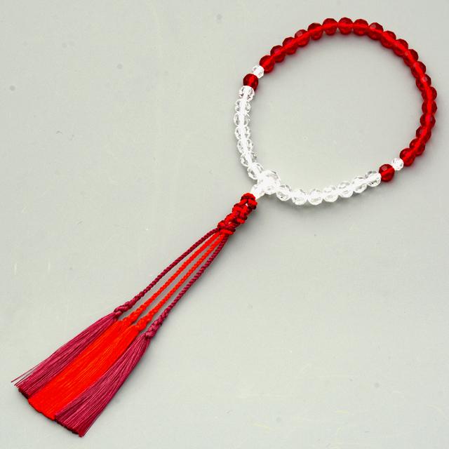 女性用数珠 ボヘミアン赤