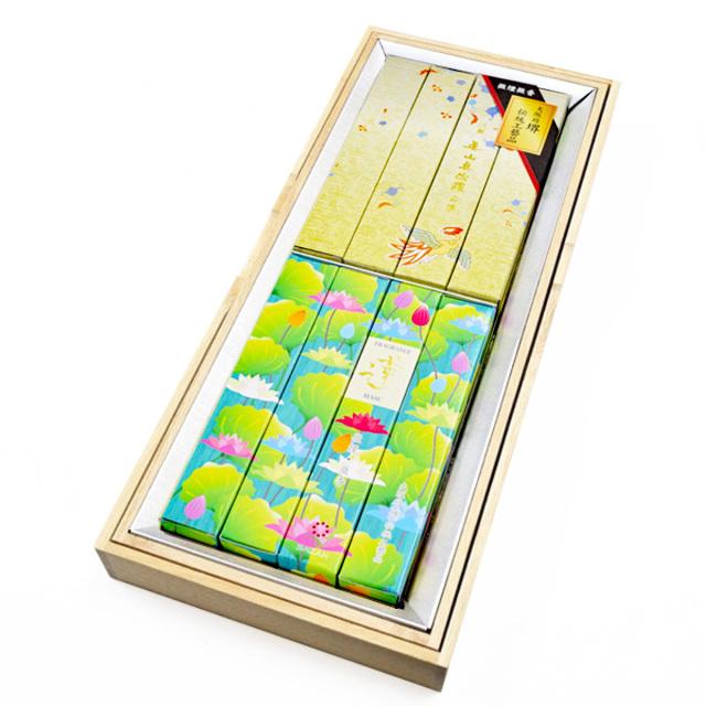 お線香 真山 2種目(蓮+真佐羅) 各4箱入