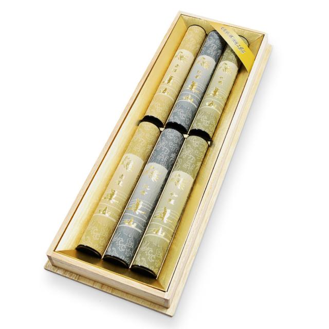 お線香 真山 香木3種目(白檀・沈香・伽羅)各2筒入