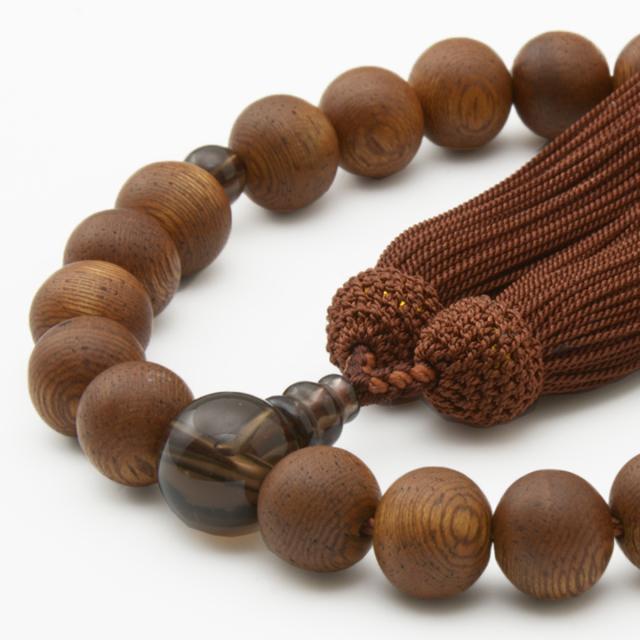 印度菩提樹22玉 茶水晶 正松房 男性用片手数珠