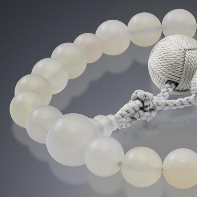 男性用 片手数珠 白瑪瑙22玉 共仕立 釈迦梵天房 日本製