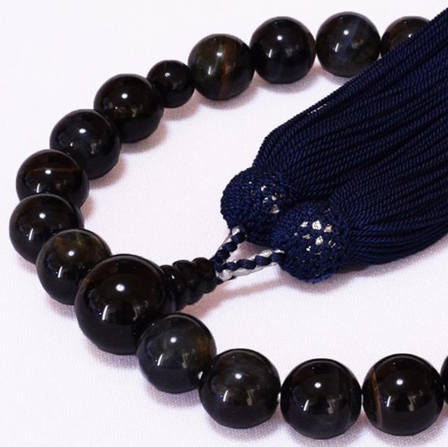 男性用数珠 青トラメ石 共仕立 正松房 セカンド