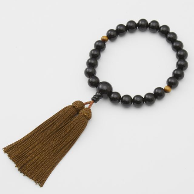 男性用 片手数珠 黒檀22玉 コーティング 二天虎眼石 正松房 日本製