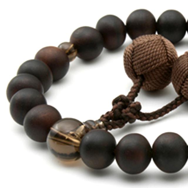 男性用 片手数珠 素引黒檀 素引22玉 茶水晶 釈迦梵天房 日本製