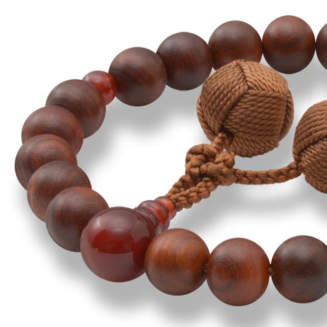男性用 片手数珠 素引紫檀22玉 本瑪瑙 釈迦梵天房 日本製