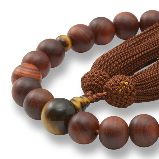 男性用 片手数珠 素引紫檀22玉 虎眼石 正松房 日本製