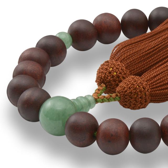 男性用 片手数珠 素引紫檀22玉 印度翡翠 正松房 日本製