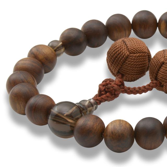 男性用 片手数珠 素引栴檀22玉 茶水晶 釈迦梵天房 日本製