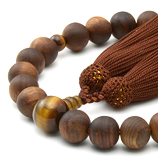 男性用 片手数珠 素引栴檀22玉 虎眼石 正松房 日本製