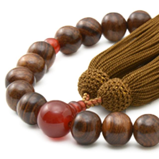 男性用 片手数珠 素引栴檀22玉 瑪瑙 正松房 日本製