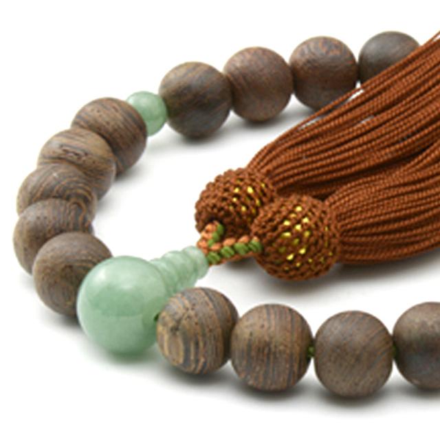 男性用 片手数珠 素引 鉄刀木22玉 印度翡翠 正松房 日本製