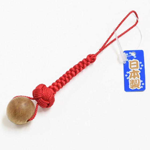 一願粒 数珠玉のお守りストラップ 印度菩提樹 赤結び