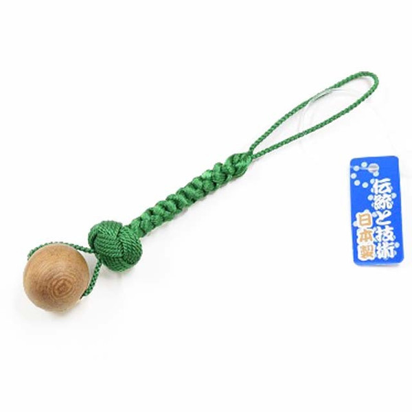 一願粒 数珠玉のお守りストラップ 印度菩提樹 緑結び