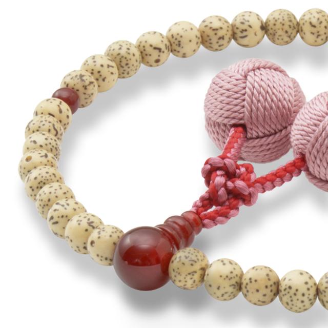 女性用数珠 天然星月菩提樹 瑪瑙 釈迦梵天房