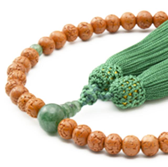女性用数珠 金剛菩提樹 印度翡翠 頭付弥勒房