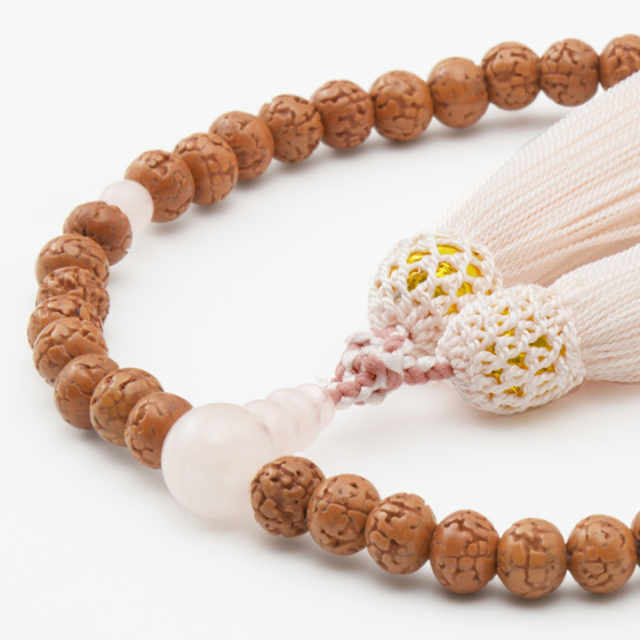 女性用数珠 金剛菩提樹 ローズコーツ 頭付弥勒房