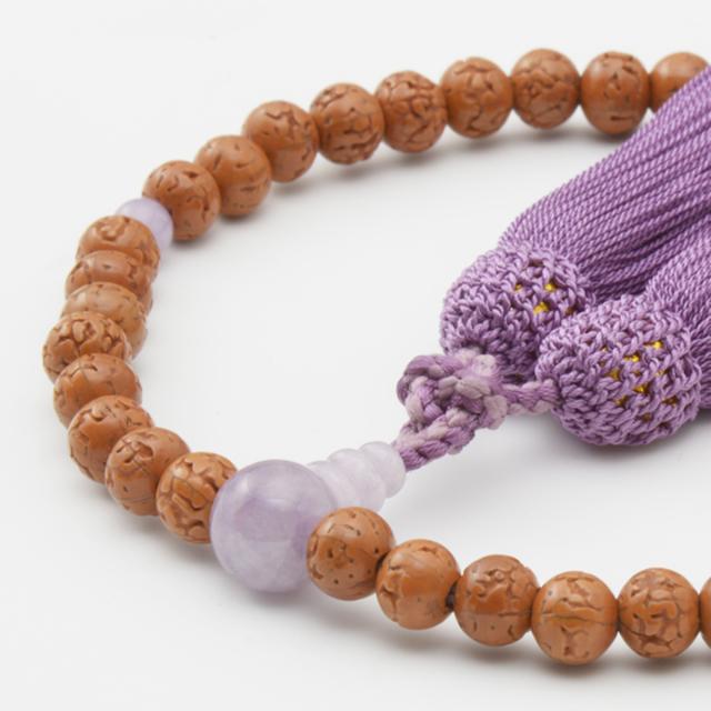 女性用数珠 金剛菩提樹 ラベンダーアメジスト 頭付弥勒房