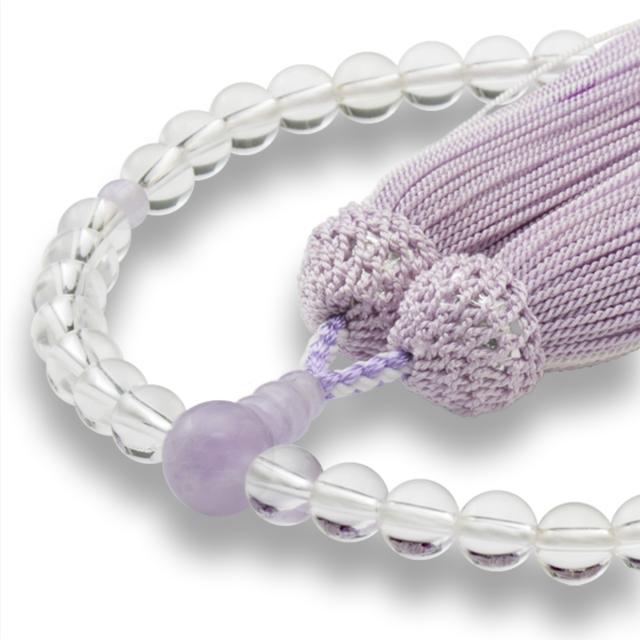 数珠 女性用 天然水晶 ラベンダーアメジスト 正松房 山念 国産 天然素材