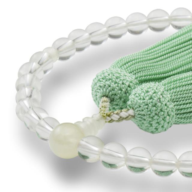 数珠 女性用 天然水晶 グリーンオニキス 正松房 山念 国産 天然素材