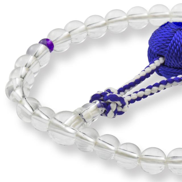 数珠 女性用 天然水晶 二天 紫水晶 釈迦梵天房 山念 国産 天然素材