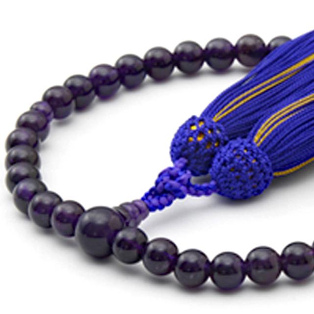 数珠 女性用 紫水晶 頭付弥勒房 山念 国産 天然素材