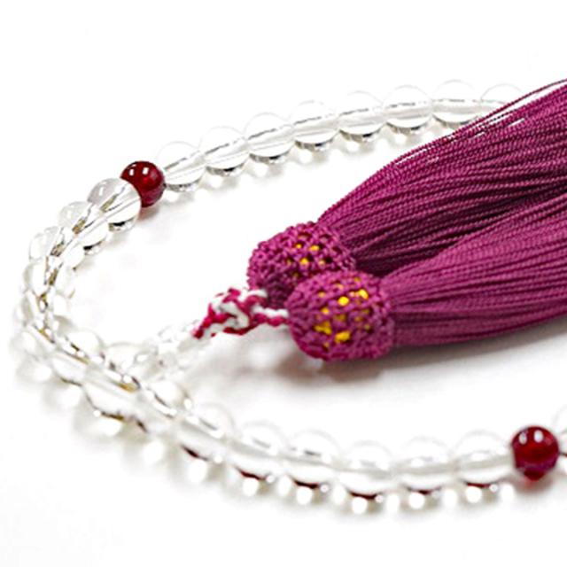 女性用数珠 天然水晶 ガーネット 1月誕生石