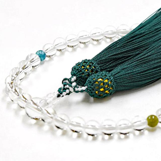 女性用数珠 天然水晶 トルマリン 10月誕生石