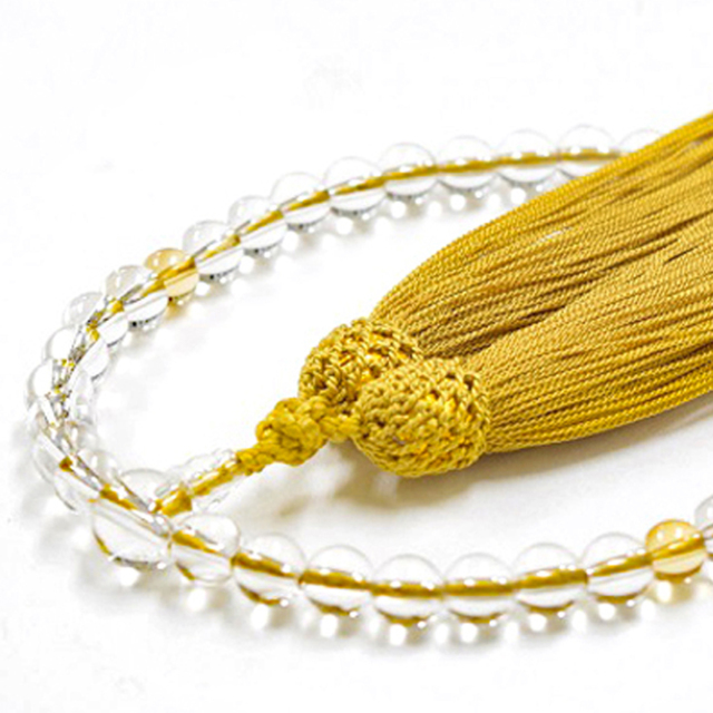 女性用数珠 天然水晶 黄水晶 シトリン 11月誕生石