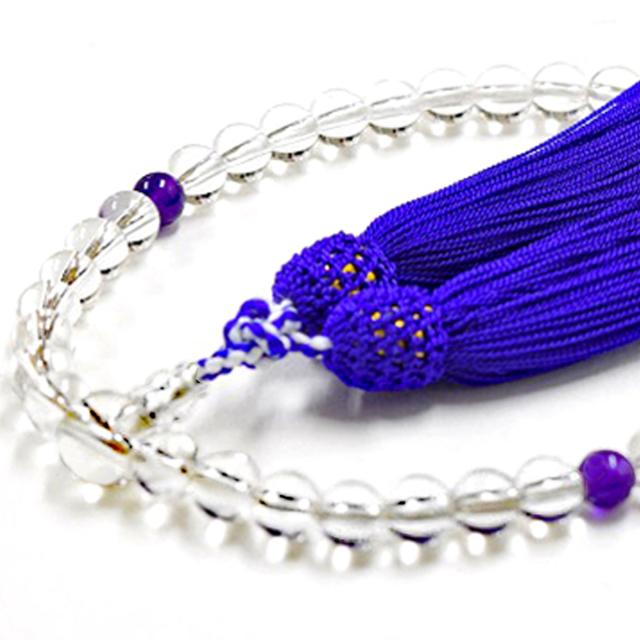 女性用数珠 天然水晶 紫水晶 アメジスト 2月誕生石