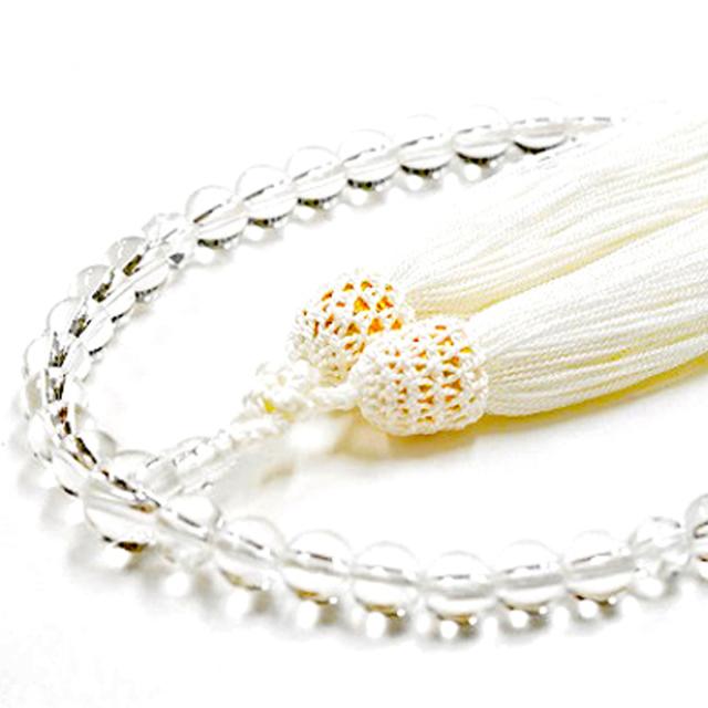 女性用数珠 天然水晶 切子水晶 4月誕生石