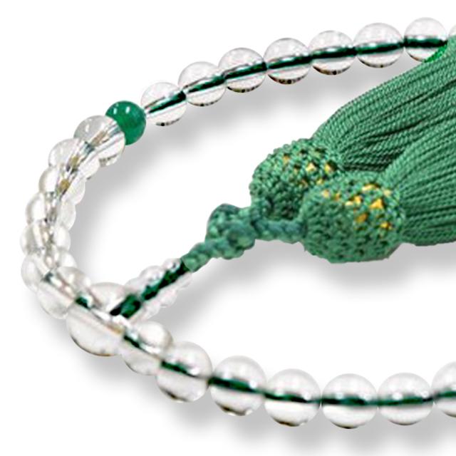 女性用数珠 天然水晶 クリソプレーズ 5月誕生石