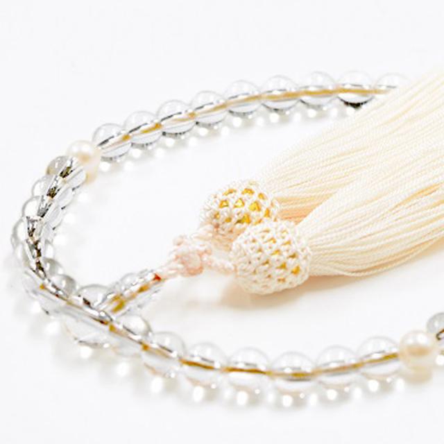 女性用数珠 天然水晶 真珠 6月誕生石
