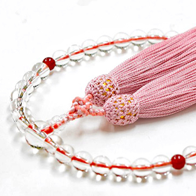 女性用数珠 天然水晶 カーネリアン 7月誕生石