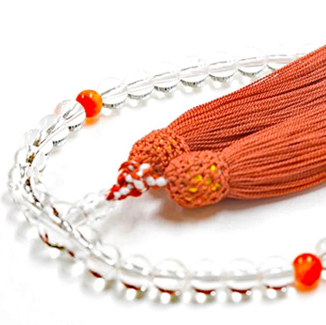 女性用数珠 天然水晶 サードオニクス 8月誕生石