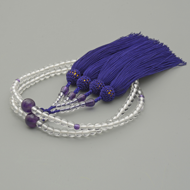八宗用二輪数珠 天然水晶 紫水晶仕立