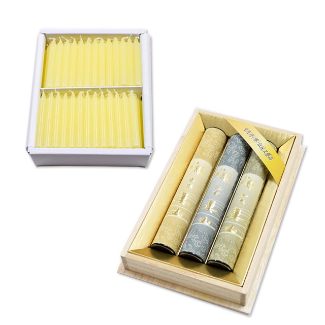 香木3種組合せと蜜蝋のローソク金印セット