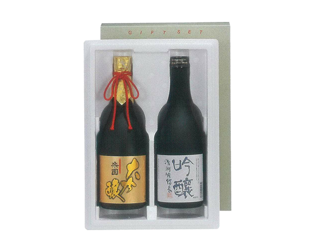 【贈答用(KK-42)】 超特撰大吟醸 「楽園」 720ml瓶 1本 & 清洲城信長 「吟醸」 720ml瓶 1本 2本セット(箱入り)