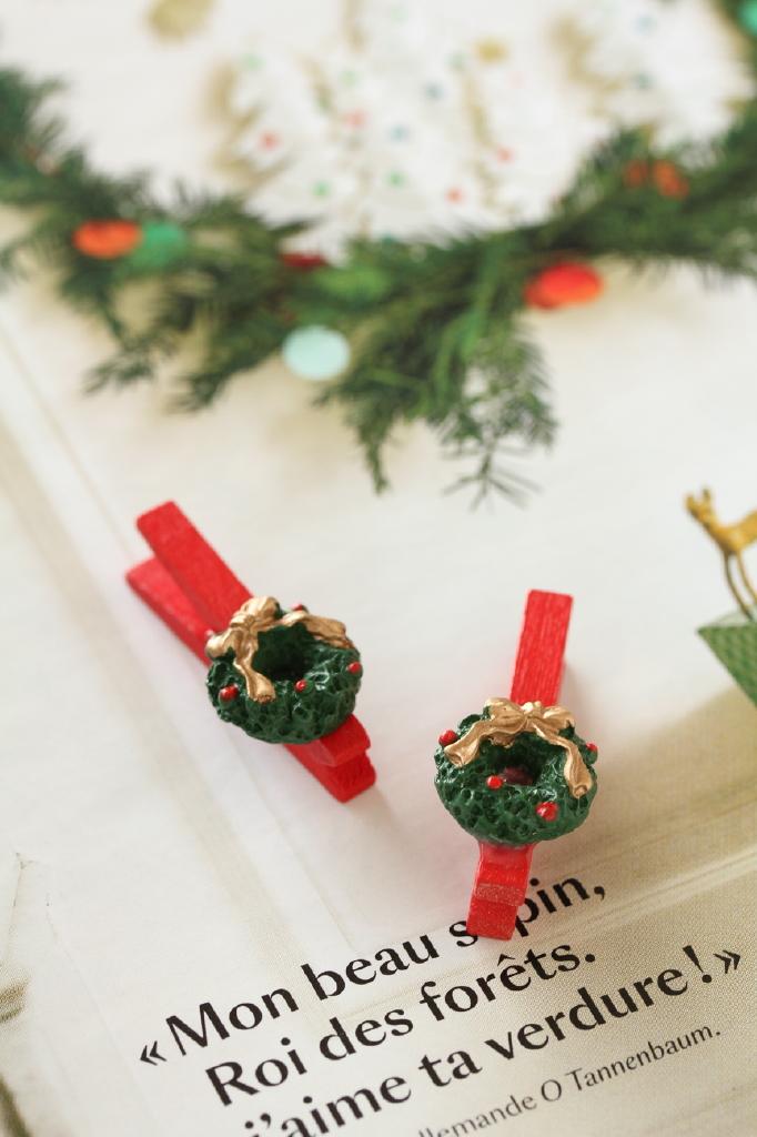 フランス雑貨  Christmas 木製クリップ・クリスマスリース