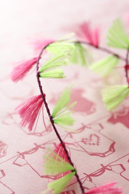 フランス製コードリボン・タッセルライン Pink x Green