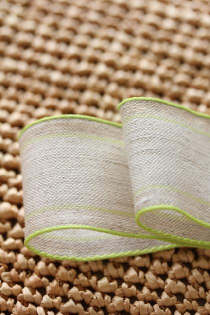 ドイツリボン・リネンStripe Leaf green 38ミリ幅