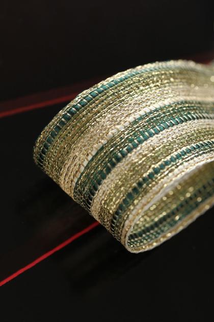 フランス製ワイヤーリボン Luxury・Green  40ミリ幅