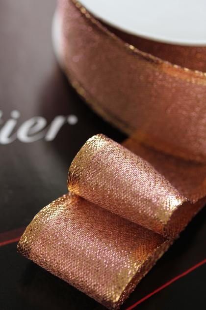 フランス製ワイヤーリボン・Rose gold  40ミリ幅