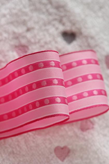 ドイツリボン  Pink stripes and Dots 40ミリ幅