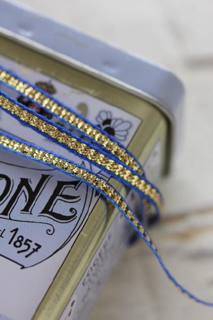 フランス製リボン・with Gold blue 3ミリ幅