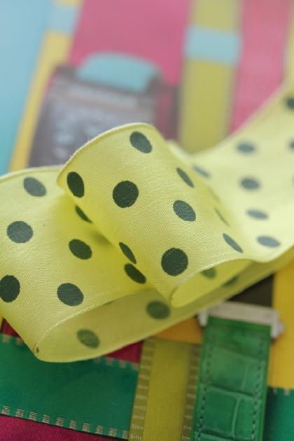 ドイツ製リボン・Color Dots Lime  40ミリ幅