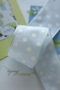 ドイツ製リボン・Color Dots ホワイト&ソフトグレー 40ミリ幅