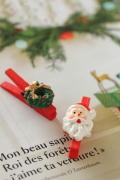 フランス雑貨  Christmas 木製クリップ・サンタ&リース