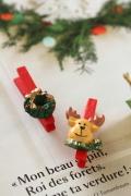 フランス雑貨  Christmas 木製クリップ・トナカイ&リース