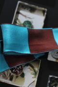 フランス製ワイヤーリボン・Vogue ブルー&ブラウン 40ミリ幅