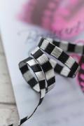 フランス製リボン Bicolor ribbonブラックxシルバー  5ミリ幅